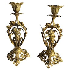 Pair of Fine French Victorian Ornate Gilded Candlesticks