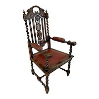 Large Antique Victorian Quality Carved Oak Armchair