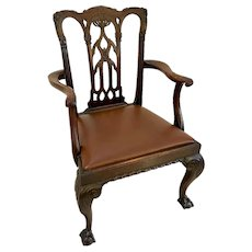 Quality Antique Victorian Carved Mahogany Desk Chair