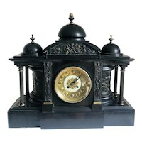 Large Antique Victorian Marble Mantle Clock