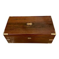 Quality Antique Victorian Brass Bound Rosewood Writing Box