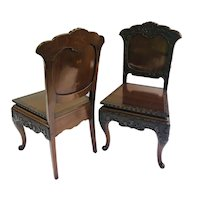 Fine Pair of Antique Carved Chinese Hall Chairs