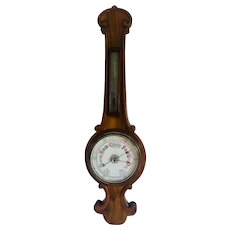 Antique Walnut Banjo Barometer