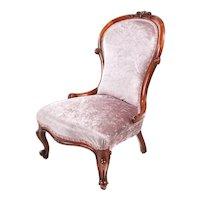 19th Century Antique Victorian Walnut Ladies Chair