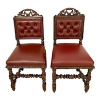 Quality Pair of Antique Victorian Carved Oak Side/Desk Chairs