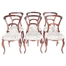 Exceptional Quality Set of 6 Victorian Carved Rosewood Dining Chairs