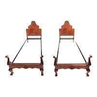 Pair of Fine Quality Antique Carved Burr Walnut Single Beds C.1920