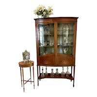 Antique Edwardian Quality Inlaid Mahogany Bow Fronted Display Cabinet