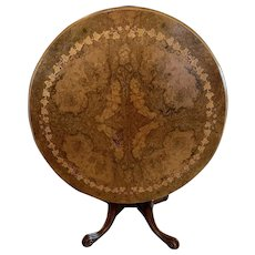 Magnificent Quality Antique Victorian Round Burr Walnut Inlaid Marquetry Low Centre  Table