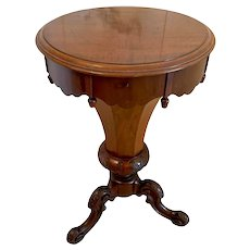 Quality Antique Victorian Mahogany Circular Trumpet Sewing Table