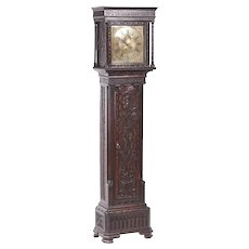 Outstanding Quality Antique Carved Oak Brass Face Longcase Clock Hugh Lough, Penrith