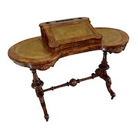 Quality Antique Victorian Freestanding Inlaid Burr Walnut Kidney Shaped Writing Table
