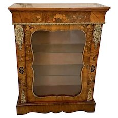 Fine Quality Antique Victorian Burr Walnut Floral Marquetry Inlaid Display Cabinet