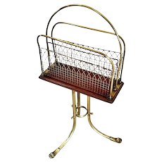 Quality Antique Victorian Brass and Mahogany Revolving Magazine Stand
