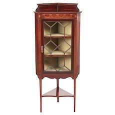 Antique Edwardian Mahogany Inlaid Corner Cabinet