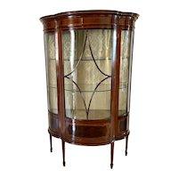 Fine Quality Antique Edwardian Inlaid Mahogany Shaped Display Cabinet