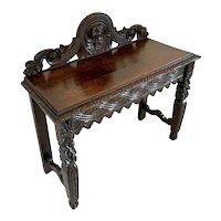 Antique Victorian Carved Oak Side Table