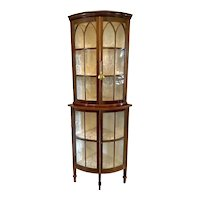Outstanding Quality Antique Edwardian Inlaid Mahogany Corner Display Cabinet