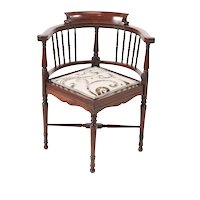 Quality Edwardian Mahogany Inlaid Corner Chair