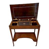Unusual Antique Edwardian Inlaid Rosewood Freestanding Writing Desk