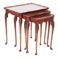Quality Antique Burr Walnut Nest of Three Tables