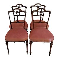 Quality Antique Victorian Set of Four Walnut Dining Chairs