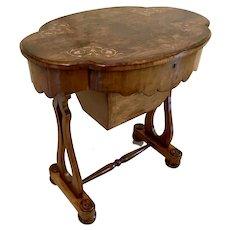 Quality Antique Victorian Burr Walnut Inlaid Work Table
