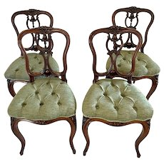 Fine Quality Antique Victorian Set of Four French Carved Walnut Side Chairs