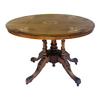Antique Victorian Walnut Inlaid Oval Centre Table