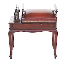 Antique Edwardian Mahogany and Leather Seat Jockey Scales