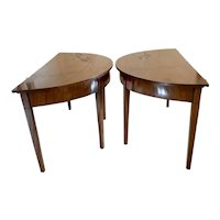 Pair of George III Mahogany Demi Lune Console Tables