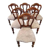 Antique set of six Victorian mahogany dining chairs