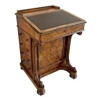 Outstanding Quality Antique Victorian Burr Walnut Davenport
