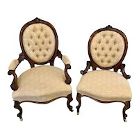 Superb Quality Antique Victorian Pair of Walnut Framed Ladies and Gentlemens Chairs