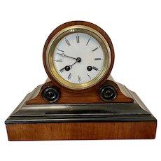 Quality Antique Victorian Walnut Desk Clock