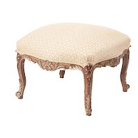 Victorian Antique Carved Walnut and Gilt Stool