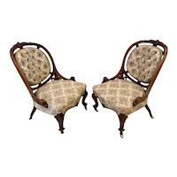 Outstanding Quality Antique Victorian Pair of Carved Walnut Chairs