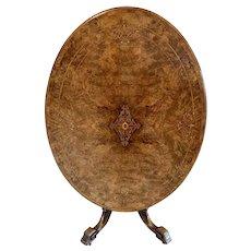 Superb Quality Antique Victorian Inlaid Burr Walnut Centre Table