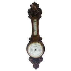 Antique Carved Walnut Aneroid Banjo Barometer