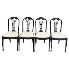 Quality Set of Four Antique Mahogany Carved Dining Chairs