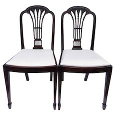 Quality Pair of Antique Mahogany Carved Side / Desk Chairs