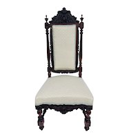 Quality Antique Victorian Carved Rosewood Side Chair