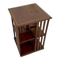 Quality Antique Edwardian Inlaid Mahogany Revolving Bookcase