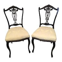 Quality Pair of Antique Victorian Carved Ebonised Side/Desk Chairs