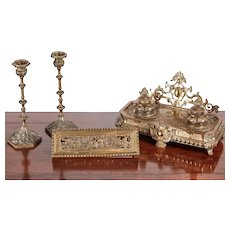 outstanding quality antique French cast-brass desk set