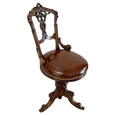 Superb Quality Antique Victorian Carved Walnut Revolving Music Chair