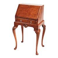 Attractive Antique Queen Anne Style Burr Walnut Bureau