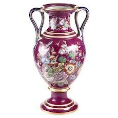 Large Staffordshire Porcelaneous Twin Handled Vase