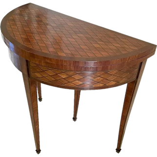 Fine Quality Antique Louis XV French Parquetry Demi-lune Card Table