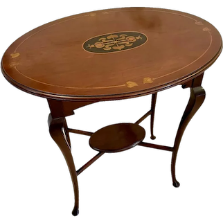 Quality Antique Art Nouveau Inlaid Mahogany Oval Lamp Table